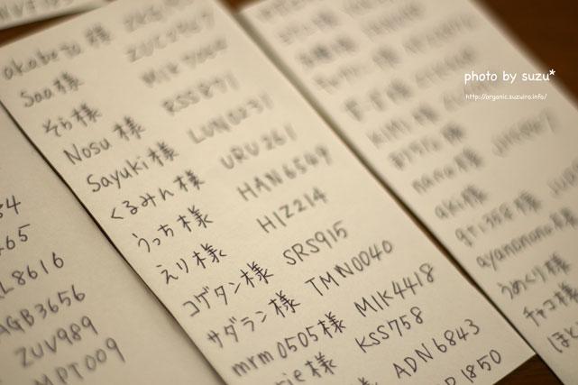 紙に書いた文字