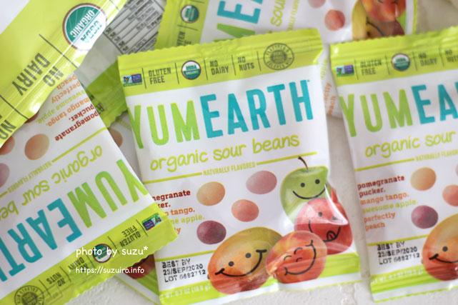 YumEarth, Organic Sour Beans,の袋の画像